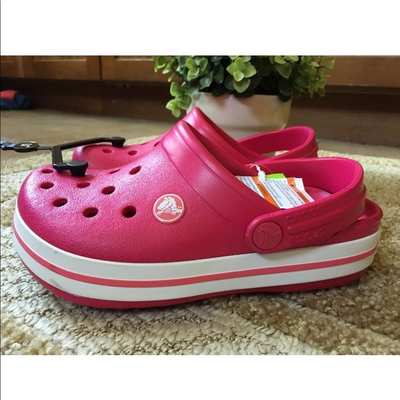 Crocs Crocband Kids  Clogs Size 1 Raspberry  White 75eb0cb9d5b